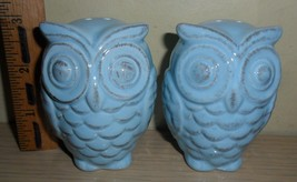 New in the Package ~ Owl Salt & Pepper Shakers ~ Blue - $5.89