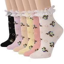 Ankle Dress Socks, Funcat Girls Women Jacquard Fancy Cuff Breathable Fri... - $24.17