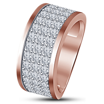 Men's Band Engagement Ring Round Cut Diamond Rose Gold Plated Solid 925 ... - $97.98