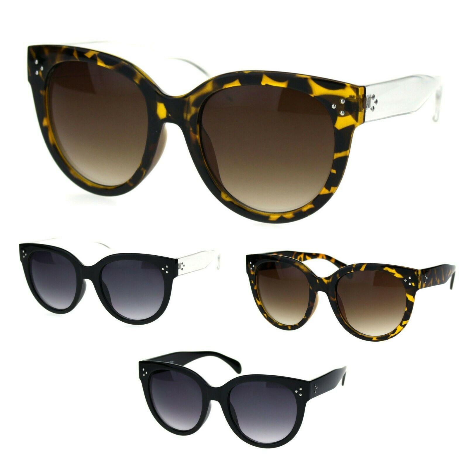 Womens Round Hipster Horn Rim Trendy Retro Sunglasses