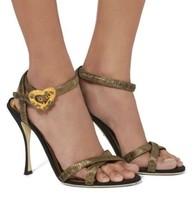 $850 DOLCE GABBANA Metallic Gold Heart Buckle Sandals Heels Shoes EUC 40... - $395.01