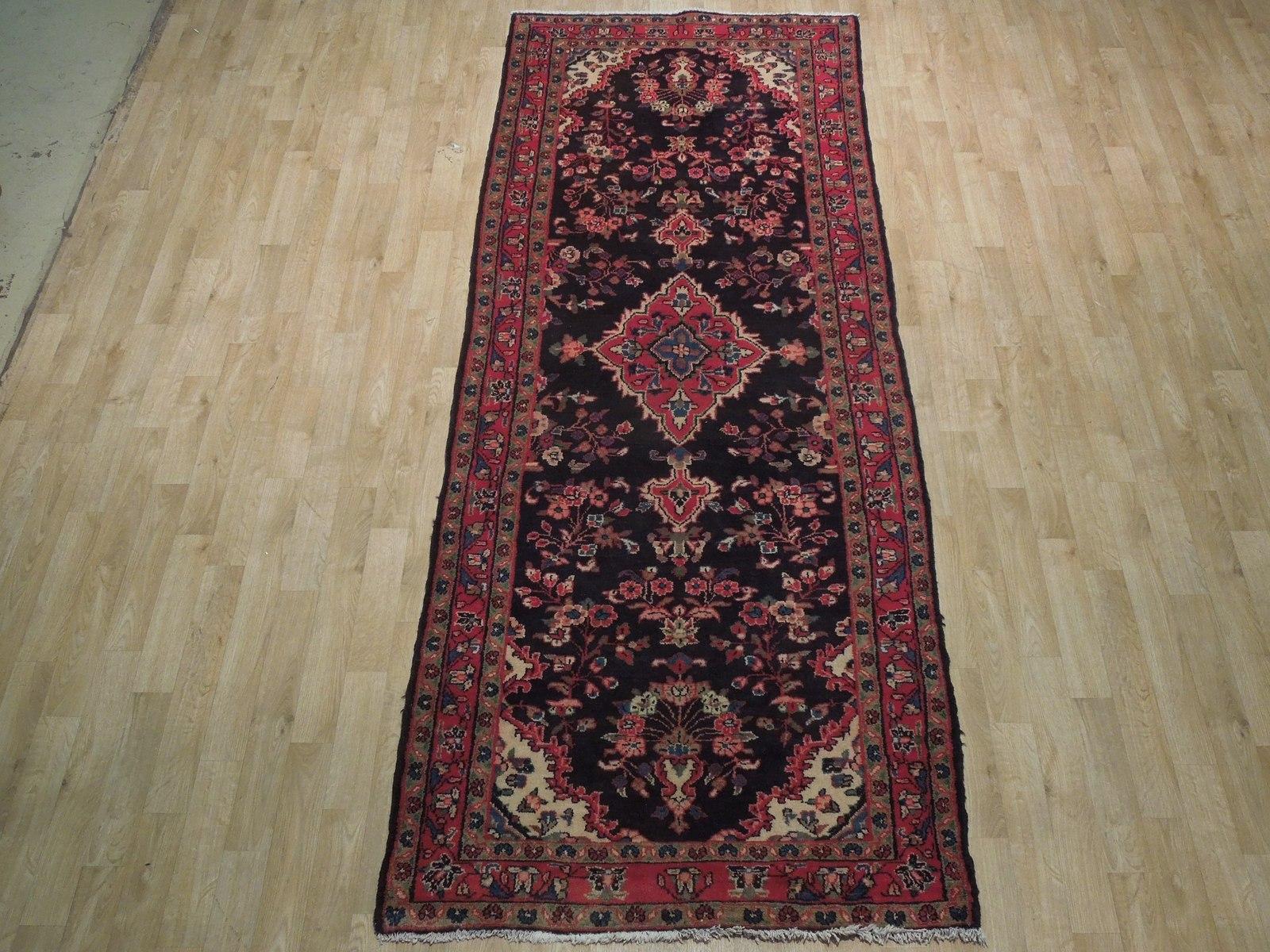 Tribal Wide Gallery Runner Persian Genuine Handmade 4x10 Black Sarouk Wool Rug image 4