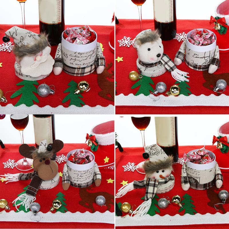 (as pictures)Cartoon Christmas Gift Box Candy Jar Bottle Christmas Decoration Pa