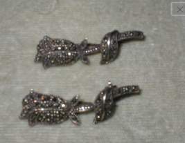 Vintage Sterling Silver MARCASITE pair of Rose Brooches Pins - $65.34