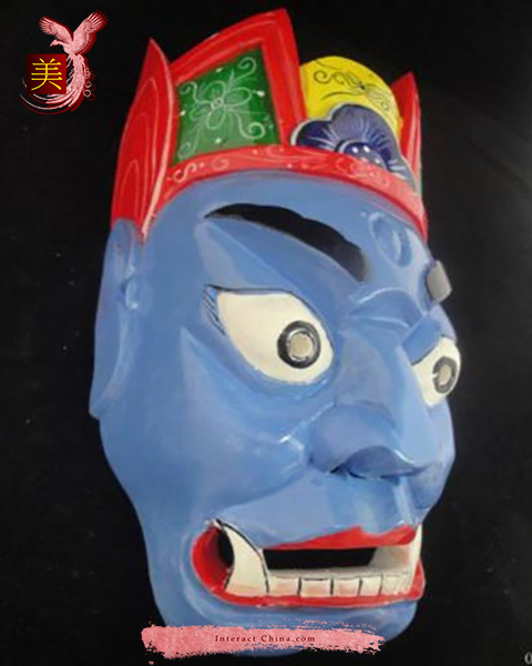 Chinese Home Wall Décor Ritual Dance Mask 100% Wood Craft Folk Art #106 Pro