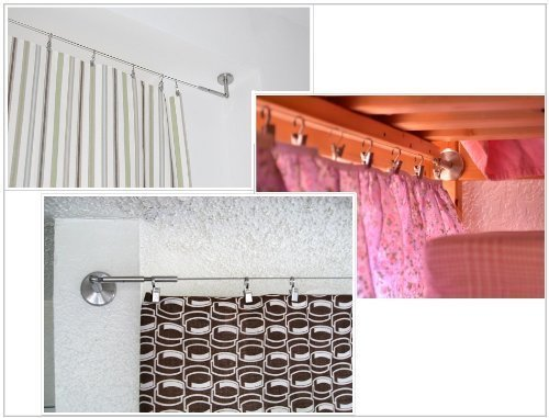New Corner Fixture 24 Rings with Clips Ikea DIGNITET Curtain Wire 197