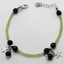 Bracelet en Argent 925 avec Péridot Vert Onyx et Pendentifs Étoiles image 1