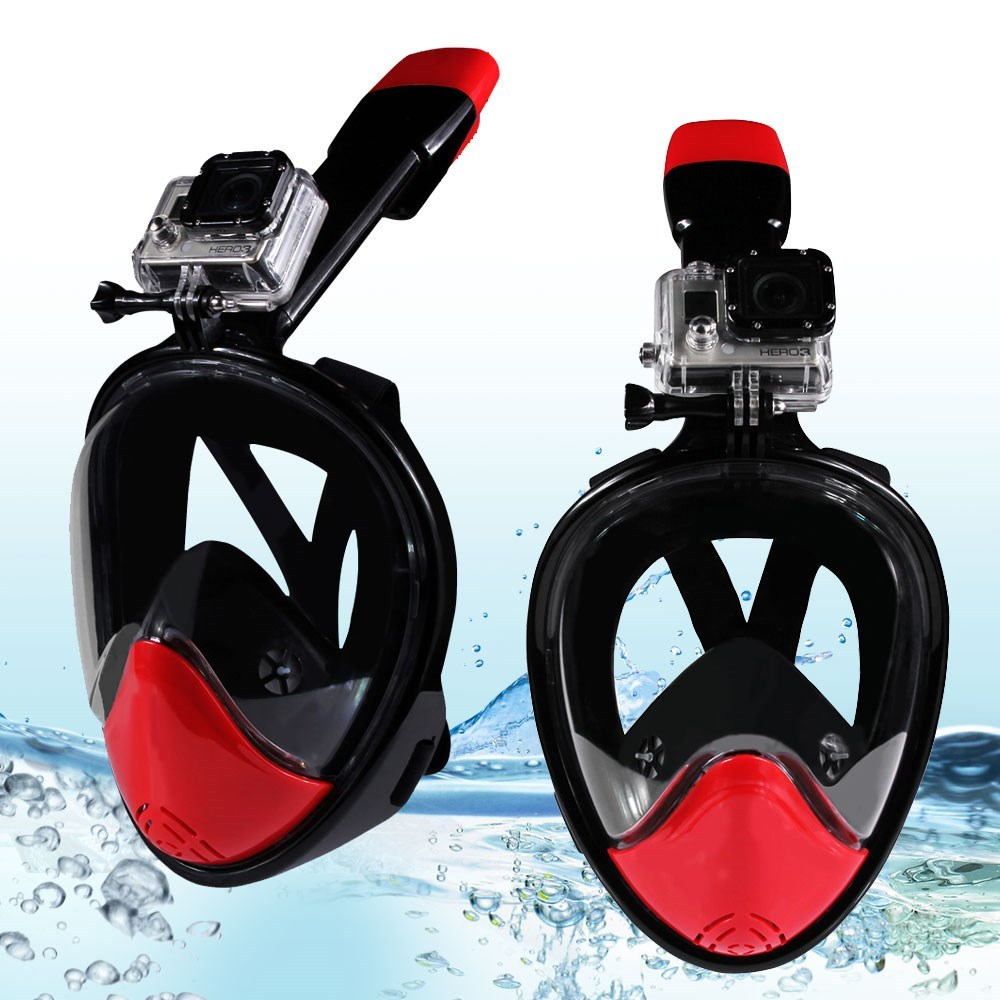 180-degree Full Face Mask for GoPro Xiaomi Yi Camera Diving Set - Black/Red / L/, used for sale  USA