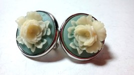 VINTAGE TRIFARI SIGNED RESIN CAMEO BLUE WHITE 3D FLOWER CLIP ON EARRINGS - $24.99