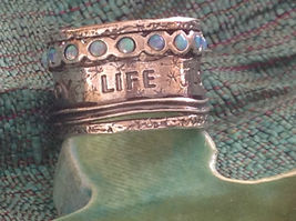 Love Life Joy Freedom Wide Sterling Silver Statement Ring Size Choice 7 or 8 image 3