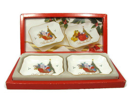 Set of 2 Mikasa Bone China Christmas Cheer Chelsea Tray White Original Box - $34.64