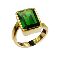 charming Emerald CZ Gold Plated Green Ring Natural handmade US gift - $7.74