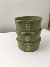 Vtg Tupperware Servalier Stacking Containers Set of 3 #1204 Green with 2 lids - $23.22