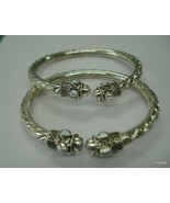 ethnic tribal silver anklet feet bracelet bangle kada pair armlet bracelet - $296.01