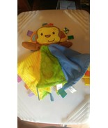 Taggies Monkey Security Blanket Fleece Yellow/Green Satin Lovey Lovie Brown - $14.03