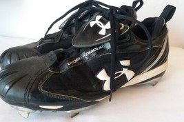 Under Armour Mens Soccer Cleats 9.5 Black and White Dual Plate Technology - $12.38