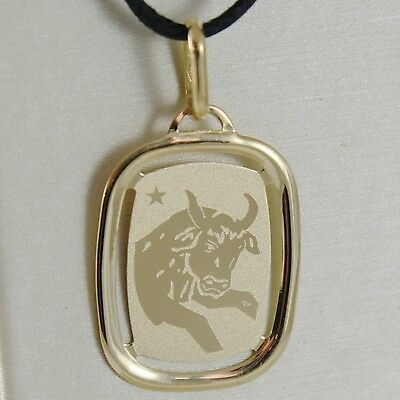 SOLID 18K YELLOW GOLD TAURUS ZODIAC SIGN MEDAL PENDANT, ZODIACAL, MADE IN ITALY