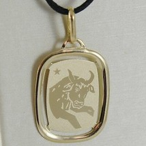 SOLID 18K YELLOW GOLD TAURUS ZODIAC SIGN MEDAL PENDANT, ZODIACAL, MADE IN ITALY image 1