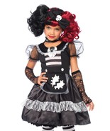 2pc Girls Black Rebel Rag Doll Halloween Costume Dress and Skull Bow Set - $23.99