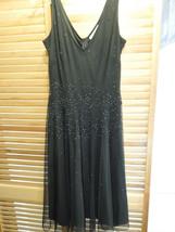 Formal Black Evening Dress Size 8 Newport News Sequin Mid Length Gown - $24.74