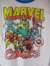 MARVEL COMICS T-SHIRT WOMEN'S Medium White S/S spiderman Hulk Capt America - $14.84