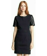 Marc Jacobs Dempsey Drill Black Stretch Twill Lamb Leather Sleeves Dress... - $140.00