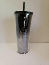 Starbucks 2019 Venti Black & Silver Cascading Snow Glitter Cold Tumbler ... - $39.95