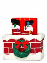 Bath & Body Works Christmas 3 Wick Ceramic Candle Holder Santa Chimney Glitter - $66.32