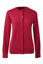 Lands End  Women's LS Supima Crew Cardigan Sweater Rich Red New - $29.99