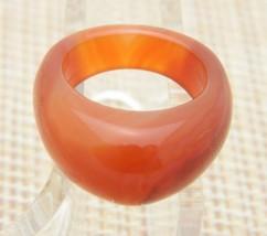 Natural Red Orange Jadeite Polished Dome Ring Size 7.75 - $49.49