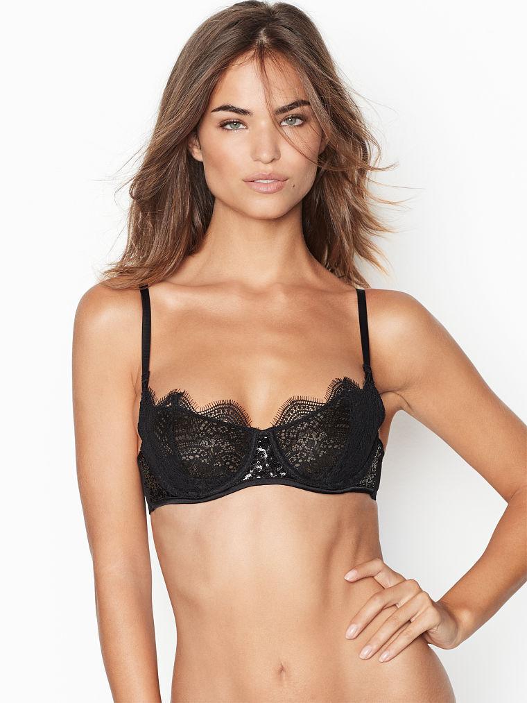86d85a5477 Victoria s Secret Wicked Unlined Uplift Black Lace w  Sequins 38D NWOT