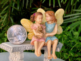 New Garden Decor Miniature Fairy Garden ~ Sitting Fairy Sisters - $17.00