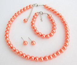 Orange Pearl Set Orange Pearl Necklace Orange Pearl Bracelet Orange Pearls - £12.05 GBP