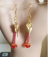 brass two hearts red gold drop dangles earrings long charms glass bead h... - $2.50