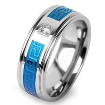 Men's Stainless Steel Wedding Engagement Band Blue IP CZ Center Maze Inl... - $8.74