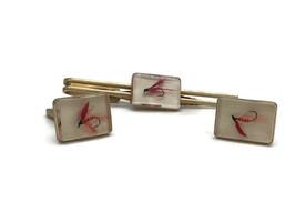 Vintage Mid Century Men's Hickok Fly Fishing Goldtone Cufflinks Tie Bar ... - $23.33