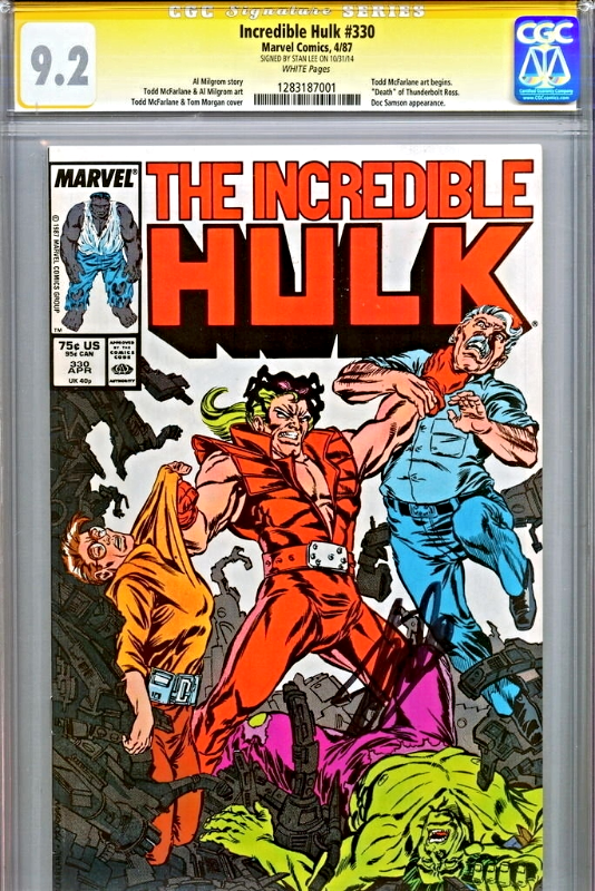 INCREDIBLE HULK #330 CGC 9.2 1987 SS SIGNED STAN LEE 1ST TODD MCFARLANE HULK