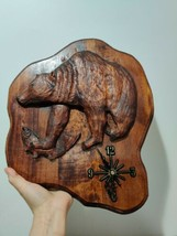 Large Wall Clock Rustic Hand Carved Wooden Bear Hunting Hunter Lodge Decor  - $48.46