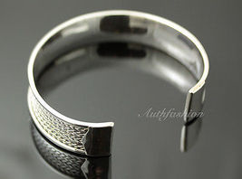 Mens Sterling Silver Bracelet Woven Wheat Bangle Cuff Handcrafted Hip Hop b24 image 3