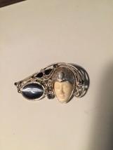 "Grandma's Estate Brooch 2"" India ST Face Stones (1202) - $35.64"