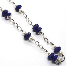 SILVER 925 NECKLACE, LAPIS LAZULI BLUE DISCO FACETED, PEARLS, 17 11/16in image 3