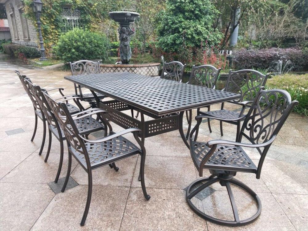 9 piece outdoor dining set Rubaiyat Expandable Table cast aluminum furniture.
