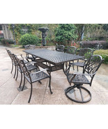 9 piece outdoor dining set Rubaiyat Expandable Table cast aluminum furni... - £1,746.53 GBP