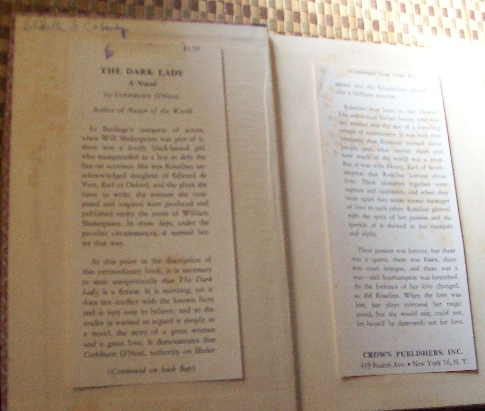 The Dark Lady by Cothburn O'Neal 1954 HB Wrote Shakespeare