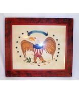 Modern Folk Art Hand Painted PA Dutch Theorem Patriotic American Eagle Bill Rank - $247.00