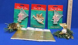 Trim A Home Ornaments 2 Harps 1 Angel 2 Gold Pine Cone & 3 Card Seals Lo... - $11.87