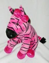 Aurora Girlz Nation Pink Zebra Plush Stuffed Animal Sparkly Bow Feet - $14.82