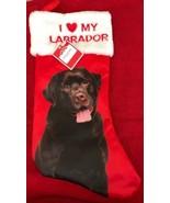 Black Labrador Christmas Stocking  I Love My LABRADOR Holiday Time New Tags - $19.79