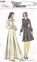 Vintage 1970's Misses' DRESS Vogue Pattern 8491-v Size 8 - $10.00