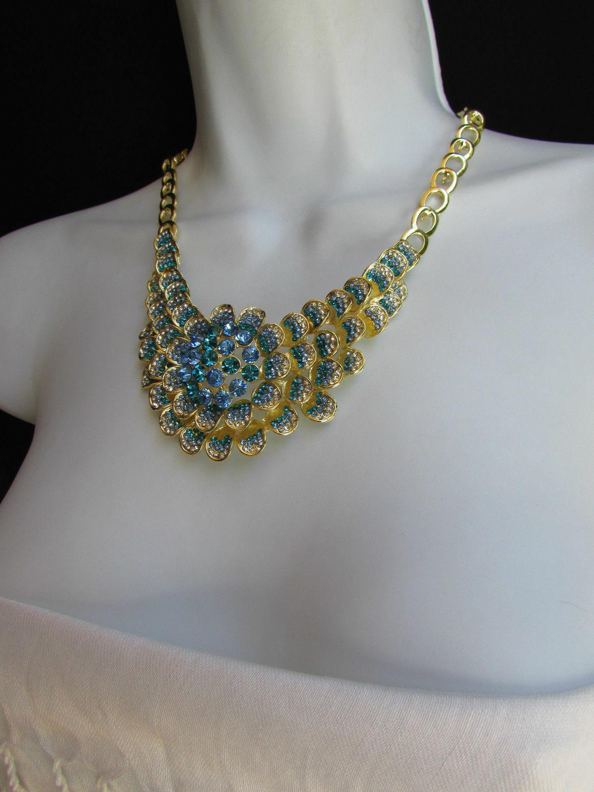 Nuevo Mujer Grande Dorado Flor Tendencia Jewelry Azul Diamantes Collar image 9